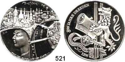 M E D A I L L E N,Städte Dresden Silbermedaille 2006 (999/ Peter Götz Güttler und Dirks Krauss)  800jähriges Jubiläum der Stadt.  40,1 mm.  33,71 g.  Im Originaletui mit Zertifikat.