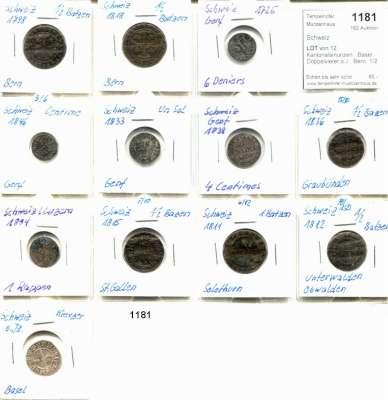 AUSLÄNDISCHE MÜNZEN,Schweiz LOTS    LOTS    LOTS LOT von 12 Kantonalsmünzen.  Basel, Doppelvierer o.J.; Bern, 1/2 Batzen 1798, 1818; Genf, 6 Deniers 1725, Sol 1833, 1 Centime 1846, 4 Centimes 1839; Graubünden, 1/2 Batzen 1836; Luzern, Rappen 1804; St. Gallen, 1/2 Batzen 1815; Solothurn, Batzen 1811; Unterwalden, 1/2 Batzen 1812.