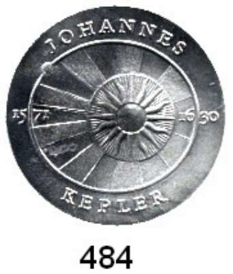 Deutsche Demokratische Republik,  5 Mark 1971.  Kepler.  Aluminiumabschlag der Vorderseite.
