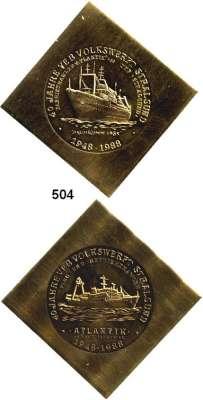 Deutsche Demokratische Republik,M E D A I L L E N  LOT von 5 Messing-Klippen.  Kulturbund Numismatik Berlin 1971 und 4 verschiedene 1988 mit Schiffsmotiven