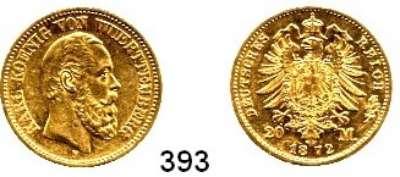 R E I C H S M Ü N Z E N,Württemberg, Königreich Karl 1864 - 1891 20 Mark 1872.