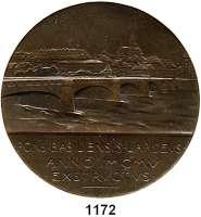 AUSLÄNDISCHE MÜNZEN,Schweiz Basel, Stadt Bronzemedaille 1905 (Hans Frei).  Auf die Einweihung der Mittleren Brücke.  60,5 mm.  88,89 g.