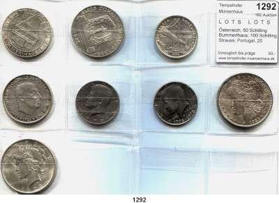 AUSLÄNDISCHE MÜNZEN,L  O  T  S     L  O  T  S     L  O  T  S  Österreich, 50 Schilling Bummerlhaus; 100 Schilling Strauss; Portugal, 20 Escudos 1966; Spanien, 100 Peseten 1966(66); U.S.A., Half Dollar(K/N) 1976, 1979; Morgan-Dollar 1921 und Peace-Dollar 1923.  LOT 8 Stück.
