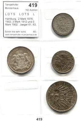 R E I C H S M Ü N Z E N,L O T S     L O T S     L O T S  Hamburg,  2 Mark 1876, 1902; 3 Mark 1912 und 5 Mark 1902.  Jaeger 61, 63, 64, 65.  LOT 4 Stück.