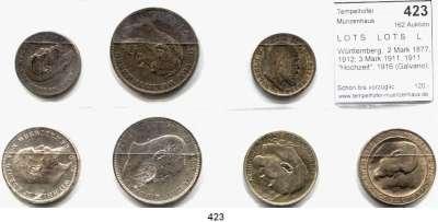 R E I C H S M Ü N Z E N,L O T S     L O T S     L O T S  Württemberg,  2 Mark 1877, 1912; 3 Mark 1911, 1911