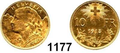 AUSLÄNDISCHE MÜNZEN,Schweiz Eidgenossenschaft 10 Franken 1915  (2,9g fein).  HMZ 1196.  Schön 33.  KM 36.  Fb. 504.  GOLD