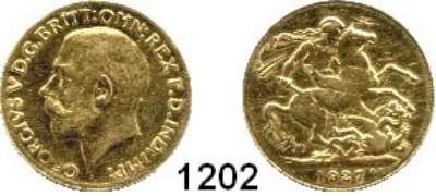 AUSLÄNDISCHE MÜNZEN,Südafrika Georg V. 1910-1936 Sovereign 1927 SA (7,32g fein).  Schön 309.7 (GB).  KM 21.  Fb. 5.  GOLD