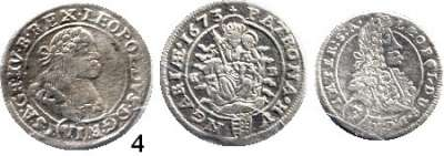 Römisch Deutsches Reich,Haus Habsburg Leopold I. 1657 - 1705 3 Kreuzer 1702 GE; 6 Kreuzer 1668 KB und 1673 KB.  LOT 3 Stück.