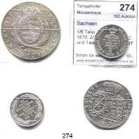 Deutsche Münzen und Medaillen,Sachsen LOTS     LOTS     LOTS 1/6 Taler 1854 a.d.Tod, 1870; 2/3 Taler 1771 EDC und Taler 1808 SGH.  LOT 4 Stück.