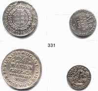 Deutsche Münzen und Medaillen,L O T S     L O T S     L O T S  Braunschweig, 24 Mariengroschen 1714 HH; Ulm, 5 Konventionskreuzer 1767; Westfalren, 1/6 Taler 1809 F und Württemberg, Gulden 1824 (Brandstück).  LOT 4 Stück.