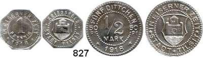 Notmünzen; Marken und Zeichen,0 Tilsit (Ostpreußen) 1 Pfennig und 1/2 Mark 1918.  Manzel 25010.1 und 2.  Funck 540.1 und 2 b.  LOT 2 Stück.