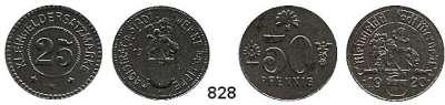 Notmünzen; Marken und Zeichen,0 Werne (Westfalen) Kleingeld der Stadt/Magistrat  50 Pfennig 1920 und 25 Pfennig 1918.  Menzel 26581.3 und 26582.5.  Funck 596.4 und 7.  LOT 2 Stück.