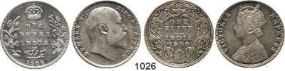 AUSLÄNDISCHE MÜNZEN,Indien Britisch Indien Rupie 1900 und 1906.  LOT 2 Stück.