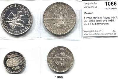 AUSLÄNDISCHE MÜNZEN,Mexiko L O T S     L O T S     L O T S 1 Peso 1948; 5 Pesos 1947; 25 Pesos 1968 und 1985.  LOT 4 Silbermünzen.