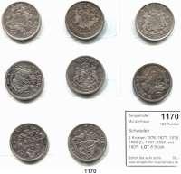 AUSLÄNDISCHE MÜNZEN,Schweden L O T S      L O T S      L O T S 2 Kronen 1876, 1877, 1878, 1880(2), 1897, 1898 und 1907.  LOT 8 Stück.