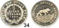 Deutsche Münzen und Medaillen,Anhalt - Bernburg Alexander Karl 1834 - 1863 1/6 Taler 1861 A.  AKS 19.  Jg. 71.