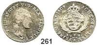 Deutsche Münzen und Medaillen,Sachsen Friedrich August I. (1763) 1806 - 1827 1/6 Taler 1809 SGH.  AKS 37.  Jg. 9.