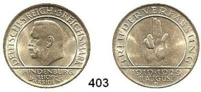 R E I C H S M Ü N Z E N,Weimarer Republik  3 Reichsmark 1929 D.  Hindenburg - Schwurhand.