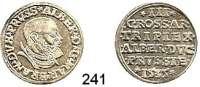 Deutsche Münzen und Medaillen,Preußen, Herzogtum Albrecht von Brandenburg (1511) 1525-1568 3 Gröscher 1535, Königsberg.  2,66 g.  Neumann 42.