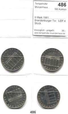 Deutsche Demokratische Republik,  5 Mark 1981.  Brandenburger Tor.  LOT 4 Stück.