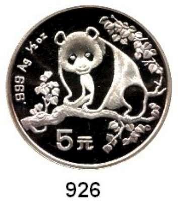 AUSLÄNDISCHE MÜNZEN,China Volksrepublik seit 1949 5 Yuan 1993 (1/2 Silberunze).  Panda auf Ast.  Schön 521.  KM 483.  In Kapsel.