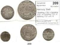 Deutsche Münzen und Medaillen,Hamburg, Stadt LOTS       LOTS       LOTS I Schilling 1750; II Schilling 1727; IIII Schilling 1727; 8 Schilling 1727 und 16 Schilling 1728.  LOT 5 Stück.