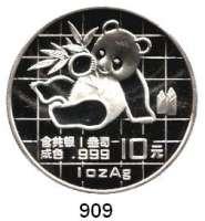 AUSLÄNDISCHE MÜNZEN,China Volksrepublik seit 1949 10 Yuan 1989 (Silberunze).  Panda mit Bambuszweig.  Schön 215.  KM A 221.