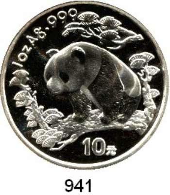 AUSLÄNDISCHE MÜNZEN,China Volksrepublik seit 1949 10 Yuan 1997 (Silberunze).  Schmale Jahreszahl mit Serifen.  Panda nach links im Wald.  Schön 1001.  KM 986.  In Kapsel.  Verschweißt.
