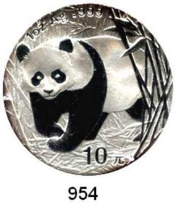AUSLÄNDISCHE MÜNZEN,China Volksrepublik seit 1949 10 Yuan 2002 (Silberunze).  Panda in Bambuspflanzung.  Schön 1268.  KM 1365.  In Kapsel.  Verschweißt.