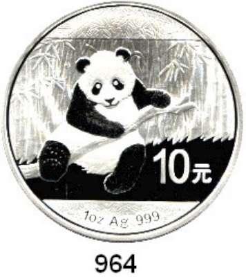 AUSLÄNDISCHE MÜNZEN,China Volksrepublik seit 1949 10 Yuan 2014 (Silberunze).  Panda mit Zweig.