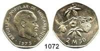 AUSLÄNDISCHE MÜNZEN,Moçambique  2 1/2 Meticas 1975.  Dieses Stück gelangte wegen der unterbliebenen Währungsumstellung nicht in den Zahlungsverkehr.  Schön 38.  KM 97.