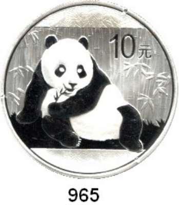 AUSLÄNDISCHE MÜNZEN,China Volksrepublik seit 1949 10 Yuan 2015.  Panda vor Bambus.  In Kapsel.