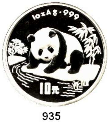 AUSLÄNDISCHE MÜNZEN,China Volksrepublik seit 1949 10 Yuan 1995 (Silberunze).  Panda beim Beobachten eines Flusslaufes.  Schön 778.  KM 723.  In Kapsel.  Verschweißt.