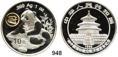 AUSLÄNDISCHE MÜNZEN,China Volksrepublik seit 1949 10 Yuan 1998 mit Beizeichen