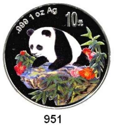 AUSLÄNDISCHE MÜNZEN,China Volksrepublik seit 1949 10 Yuan 1999 (Silberunze, Farbmünze).  Junger Panda auf Felsvorsprung.  Schön 1176.  KM 1217.  In Kapsel mit Zertifikat.