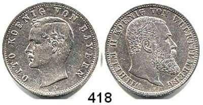 R E I C H S M Ü N Z E N,L O T S     L O T S     L O T S  Bayern, 2 Mark 1904 und Württemberg, 2 Mark 1906.  Jg. 45 und 174.  LOT 2 Stück.