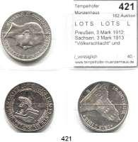 R E I C H S M Ü N Z E N,L O T S     L O T S     L O T S  Preußen, 3 Mark 1912; Sachsen, 3 Mark 1913
