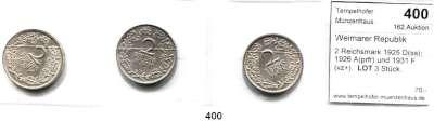 R E I C H S M Ü N Z E N,Weimarer Republik  2 Reichsmark 1925 D(ss); 1926 A(prfr) und 1931 F(vz+).  LOT 3 Stück.