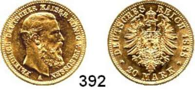 R E I C H S M Ü N Z E N,Preussen, Königreich Friedrich III. 1888 20 Mark 1888.