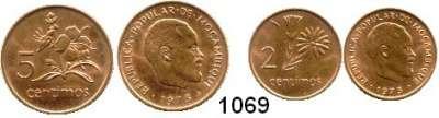 AUSLÄNDISCHE MÜNZEN,Moçambique  2 und 5 Céntimos 1975.  Diese Stücke gelangten wegen der unterbliebenen Währungsumstellung nicht in den Zahlungsverkehr.  Schön 32 und 33.  KM 91 und 92.  LOT 2 Stück.