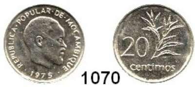 AUSLÄNDISCHE MÜNZEN,Moçambique  20 Céntimos 1975.  Dieses Stück gelangte wegen der unterbliebenen Währungsumstellung nicht in den Zahlungsverkehr.  Schön 35.  KM 94.