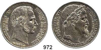 AUSLÄNDISCHE MÜNZEN,Dänemark Christian IX. 1863 - 1906 2 Rigsdaler 1863.  Auf Tod von Friedrich VII. und zur Thronbesteigung von Christian IX..  Kahnt/Schön 66.  KM 770.