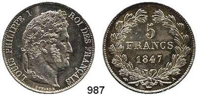 AUSLÄNDISCHE MÜNZEN,Frankreich Ludwig Philipp I. 1830 - 1848 5 Francs 1847 A, Paris.  Kahnt/Schön 72.  KM 749.1.