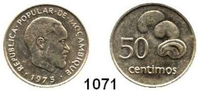 AUSLÄNDISCHE MÜNZEN,Moçambique  50 Céntimos 1975.  Dieses Stück gelangte wegen der unterbliebenen Währungsumstellung nicht in den Zahlungsverkehr.  Schön 36.  KM 95.