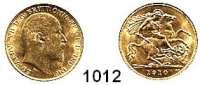 AUSLÄNDISCHE MÜNZEN,Großbritannien Edward VII. 1901 - 1910 Half Sovereign 1910.  (3,66g fein).  Spink 3974 B.  Schön 293.  KM 804.  Fb. 401.  GOLD