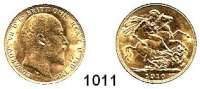 AUSLÄNDISCHE MÜNZEN,Großbritannien Edward VII. 1901 - 1910 Sovereign 1910.  (7,32g fein).  Spink 3969.  Schön 294.  KM 805.  Fb. 400.  GOLD