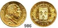 AUSLÄNDISCHE MÜNZEN,Frankreich Ludwig XVIII. 1814 - 1824 40 Francs 1818 W  Lille (11,61g FEIN).  Gadoury 256.  KM 713.6.  Fb.536.  GOLD