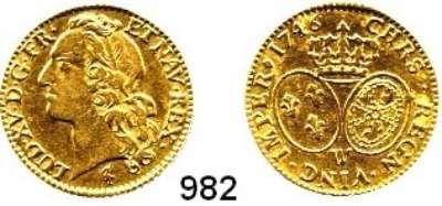 AUSLÄNDISCHE MÜNZEN,Frankreich Ludwig XV. 1715 - 1774 Louis dor 1746 W, Lille.  8,01 g.  KM 513.22.  Fb. 464.  GOLD