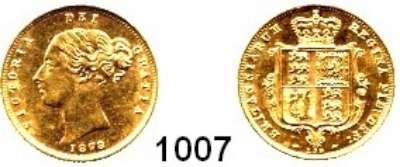 AUSLÄNDISCHE MÜNZEN,Großbritannien Viktoria 1837 - 1901 1/2 Sovereign 1878/159.  (3,66g fein).  Seaby 3860 E.  Kahnt/Schön 112.  KM 735.2.  Fb. 389 f.  GOLD