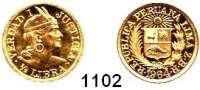 AUSLÄNDISCHE MÜNZEN,Peru Republik seit 1822 1/2 Libra 1964.  (3,66g fein).  Schön 15.  KM 209.  Fb. 74.  GOLD